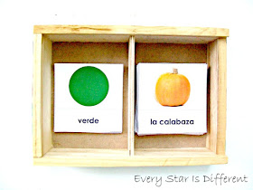 Spanish color sorting cards.