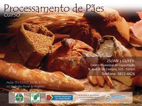 Curso Gratuito de Processamento de Pães em Registro-SP