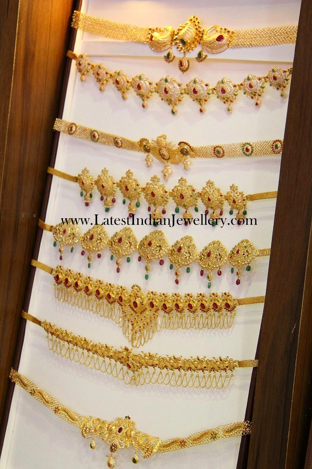 Black Hair Style Fancy Light Weight Gold Vaddanam Designs Latest Indian