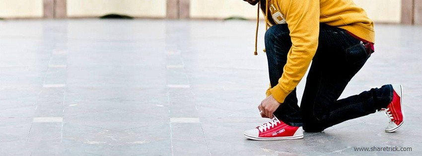 Boy fix his shoe laces facebook cover is one of the coolest timeline banner photo for boys and their FB accounts plus other Social Profiles Boy waiting with luggages facebook cover