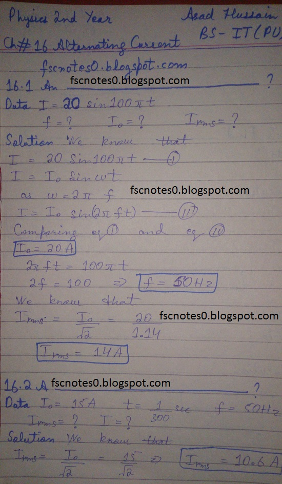 F.Sc ICS Notes: Physics XII: Chapter 16 Alternating Current Numerical Problems Asad Hussain