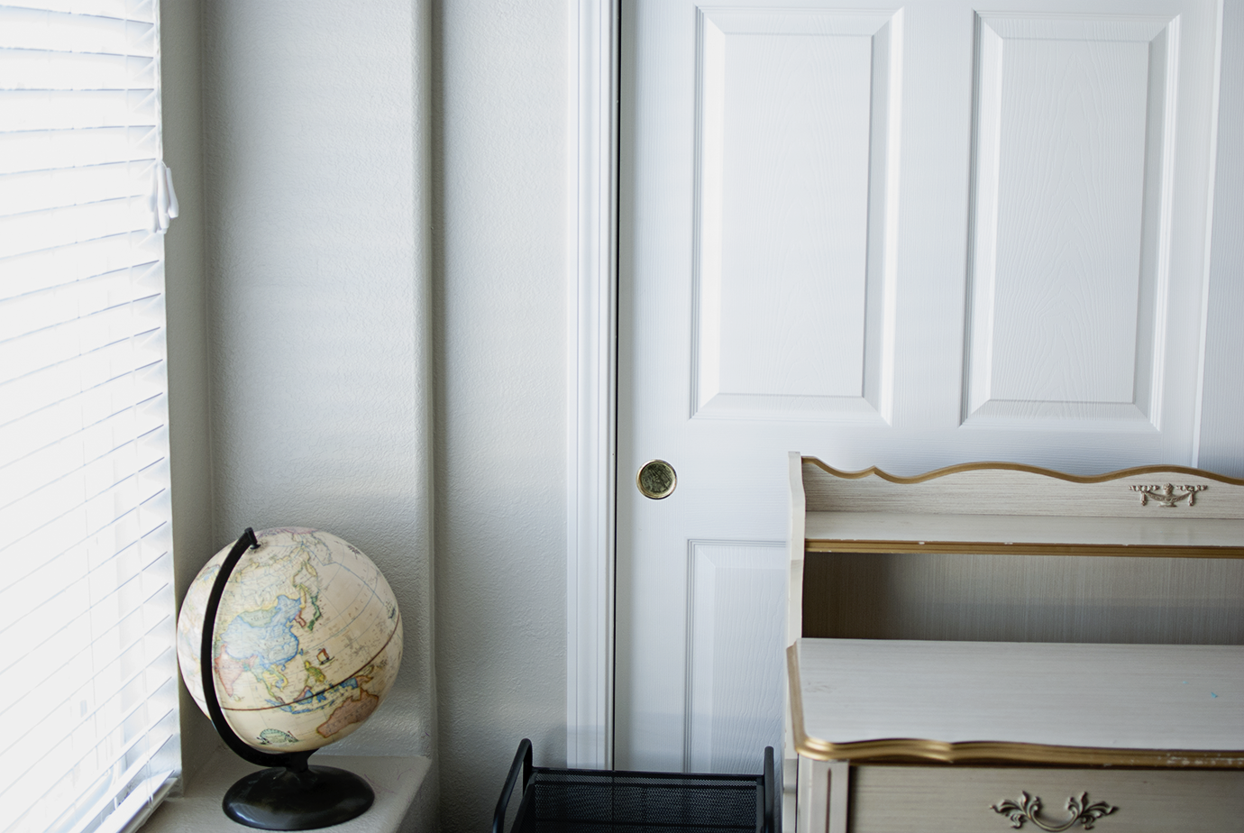 One Room Challenge Paint and Flooring Choices Closet Doors and a Vintage Globe