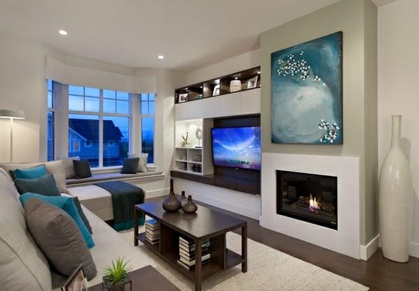 Salas modernas con chimenea colores en casa - Decoracion salon con chimenea ...