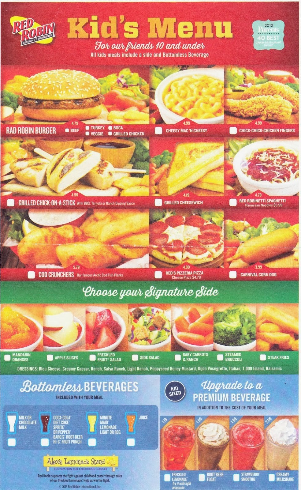Olive Garden Menu Pdf: The Kids Menu: Red Robin Kids Menu