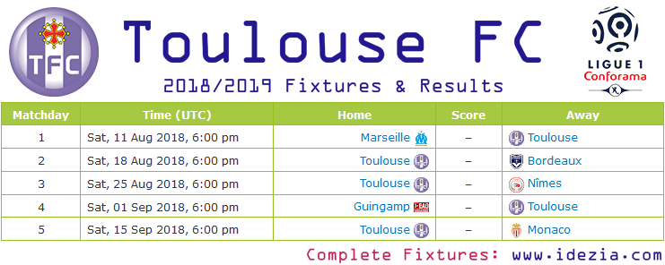 Download Full Fixtures PNG JPG Toulouse 2018-2019