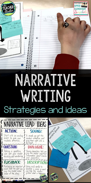 Helping student with narrative writing is so important. Using prewriting and planning strategies paired with teacher modeling and writing lessons that stress description, writing dialogue, and story elements can help create great narratives.  Also key is teaching revision strategies that can help writers improve their writing.  Perfect for grade 3 writing, grade 4 writing, grade 5 writing, third grade writing, fourth grade writing, fifth grade writing, teaching narrative writing, writing lessons, writing anchor charts