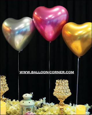 Balon Latex Hati Chrome SUPER GRADE A
