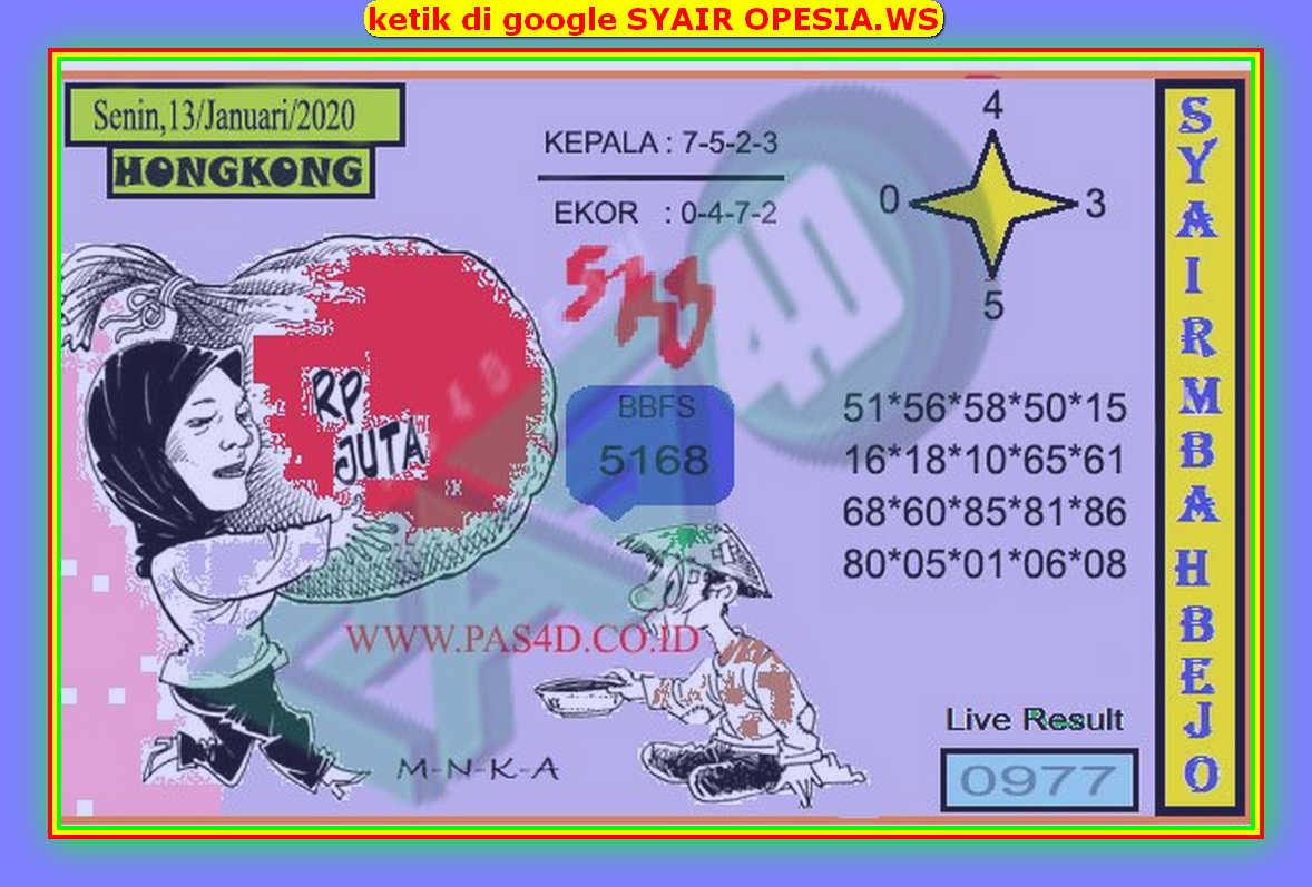 Kode syair Hongkong Senin 13 Januari 2020 108