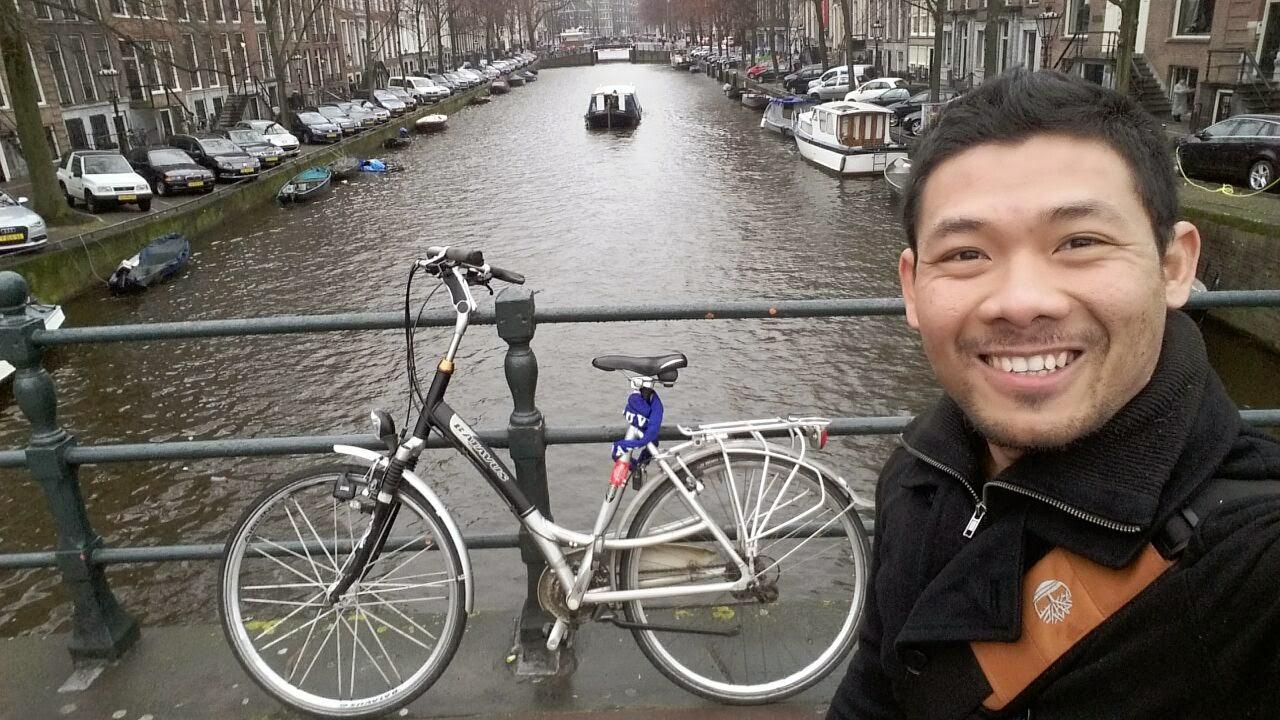 Inilah Mas Yuda yang mengirimkan foto-foto sepeda selama di Belanda