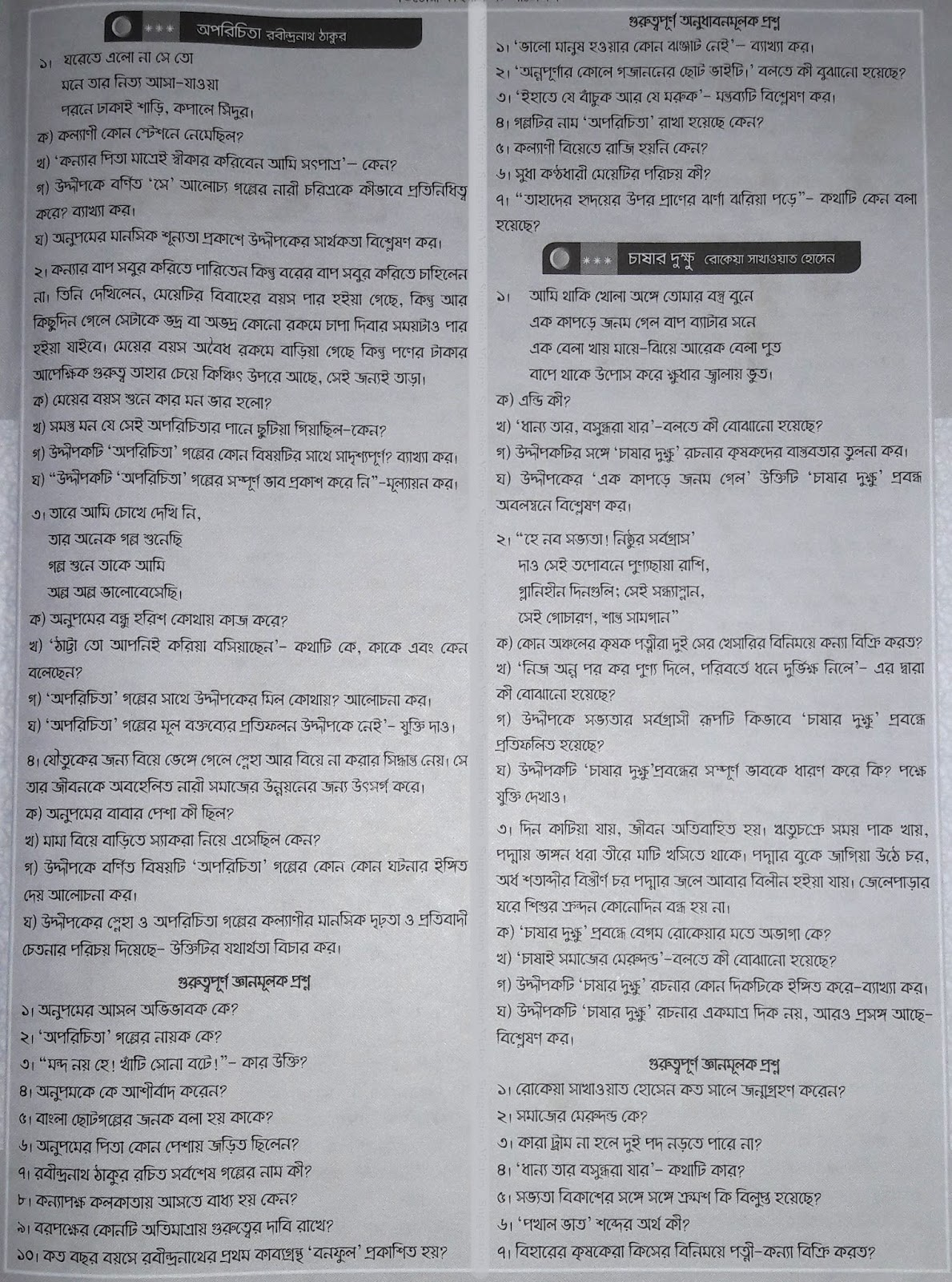 hsc bangla 1st paper question paper, model question, mcq question, question pattern, syllabus for dhaka board, all boards