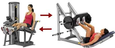 Combinación de ejercicios para hipertrofiar cuádriceps, femorales y glúteos en prensa inclinada y extensión de pierna
