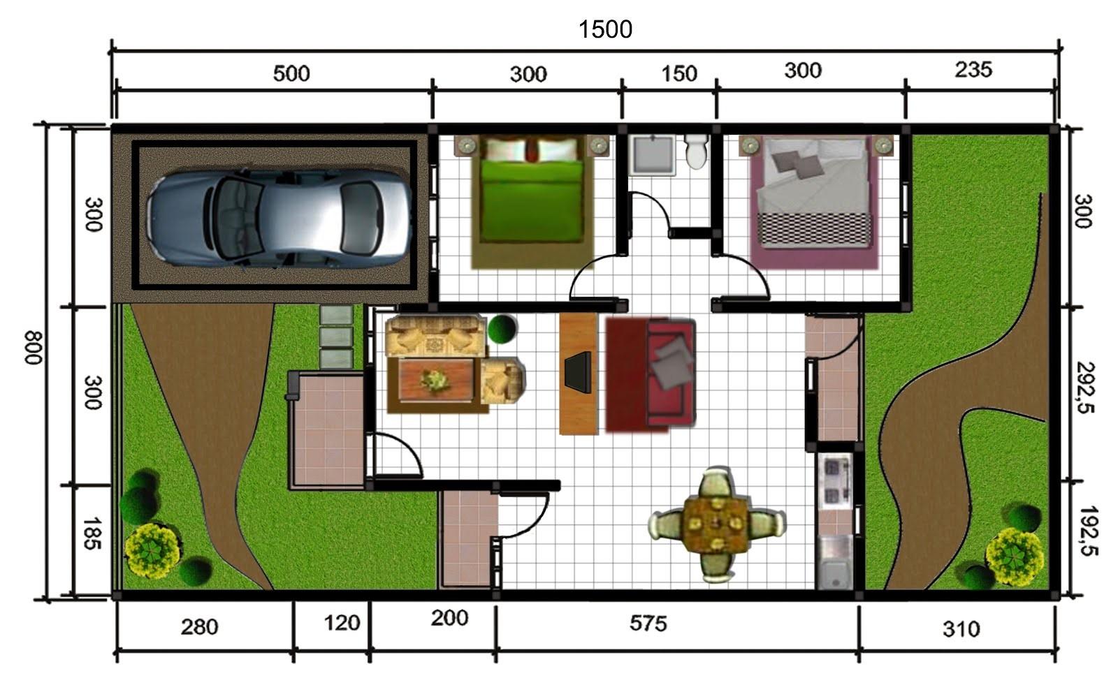 gambar denah rumah dan ukuran keterangan 2