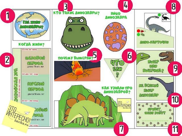 лэпбук Динозавры. Задания
