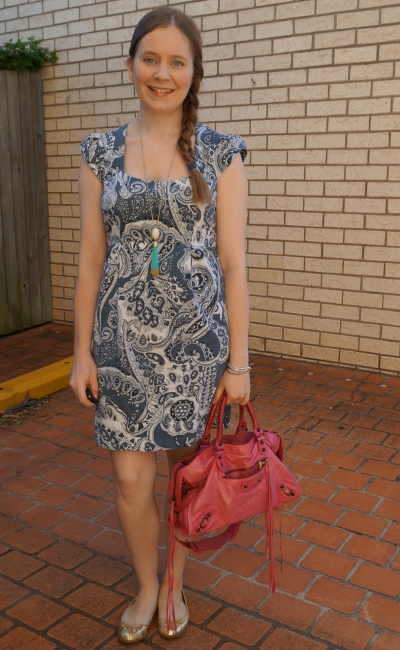 paisley print french connection blue sheath dress with balenciaga pink sorbet city bag | awayfromblue