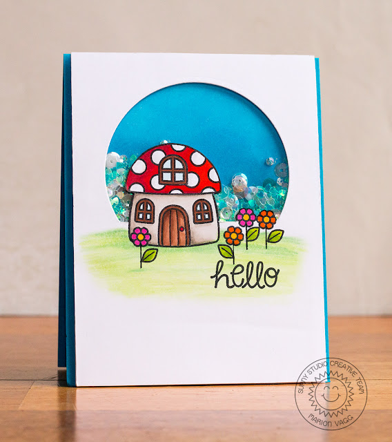 Sunny Sentiments Stamps Backyard Bugs Toadstool House Shaker card by Marion Vagg.