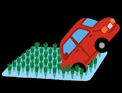 田んぼに落ちた車のイラスト