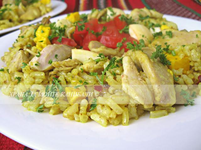 Ориз с куркума яйца и заешко месо