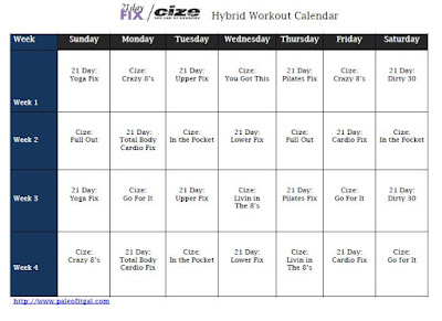 21 Day Fix and Cize Hybrid Workout Calendar