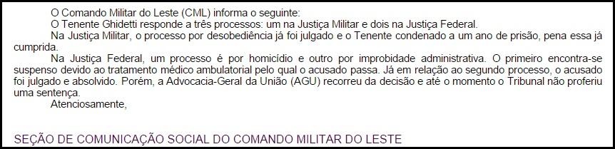 Declaração do Comando Militar do Leste