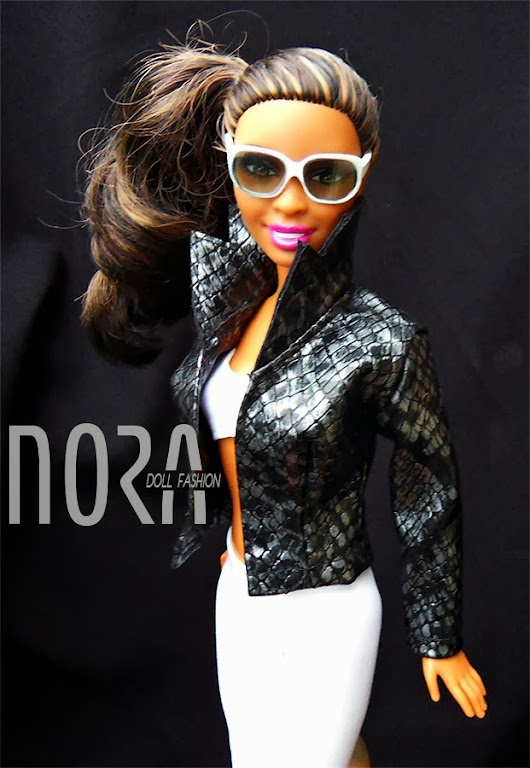 Faux leather jacket for Barbie doll