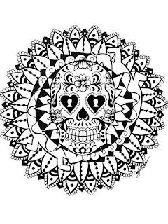 Mandala de calavera para colorear - Mandala del día de muertos