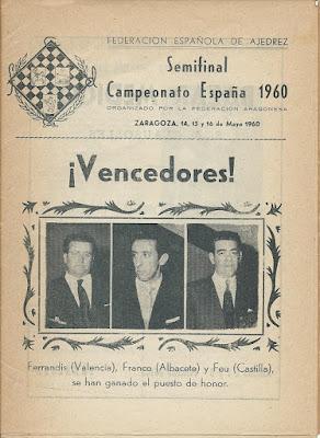 Portada del boletín de la Semifinal del Campeonato de España 1960
