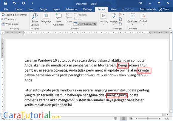 Koreksi Ejaan Kata Microsoft Word