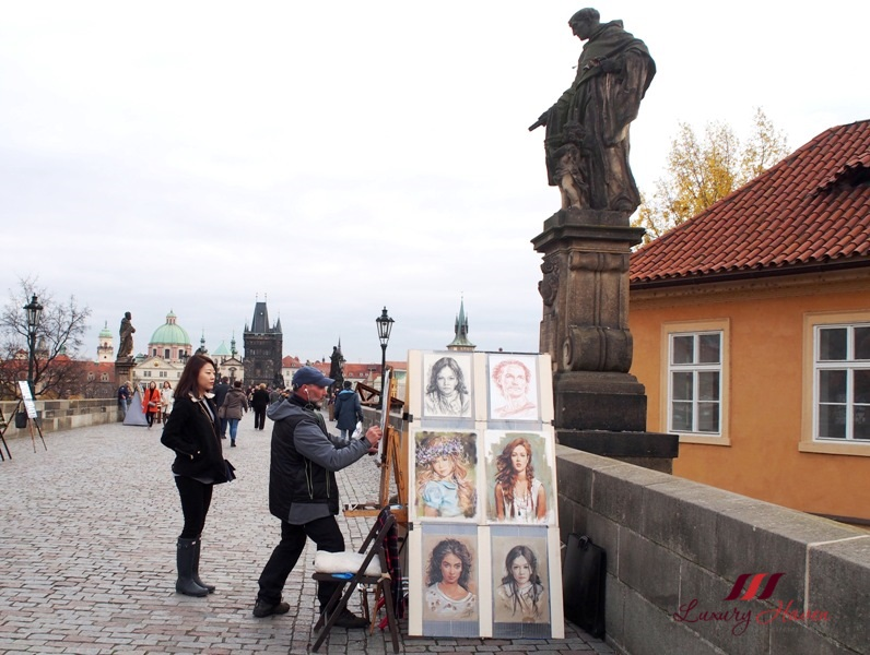 prague charles bridge portrait painting