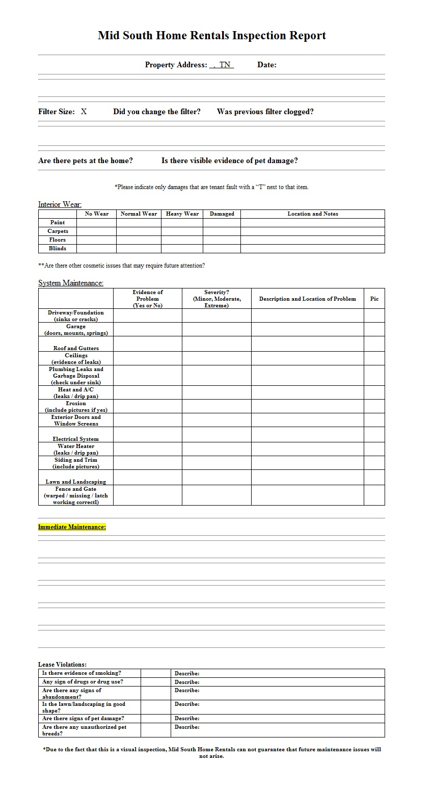House rental inspection word template template sample for Rental property inspection checklist template