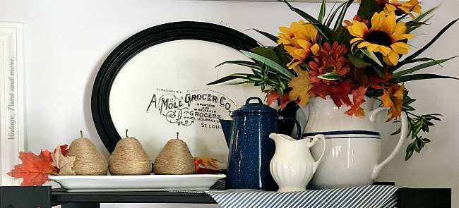 Vintage, Paint and more... twine wrapped pears, an ironstone pitcher with faux fall foliage, splatter ware pitcher and a diy vintage sign make a fall vignette in the kitchen
