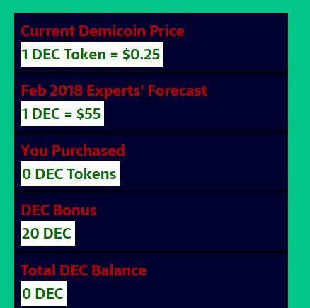ফীতে নিয়ে নিন 20 টি ডিমিকয়েন( Demicoin) 1dec=$55 feb 2018