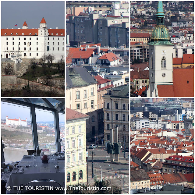 The castle and red rooftops of the old town of Bratislava in Slovakia