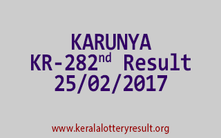 KARUNYA Lottery KR 282 Results 25-2-2017