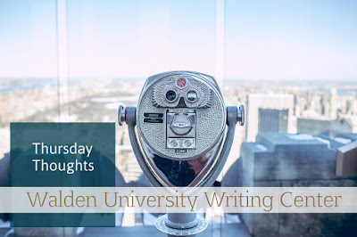 "A set of pay-to-view binoculars sits atop a building that overlooks a city skyline. Text reads: ""Thursday Thoughts: Walden University Writing  Center"""