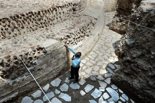Ancient Aztec temple, ball court found in Mexico City