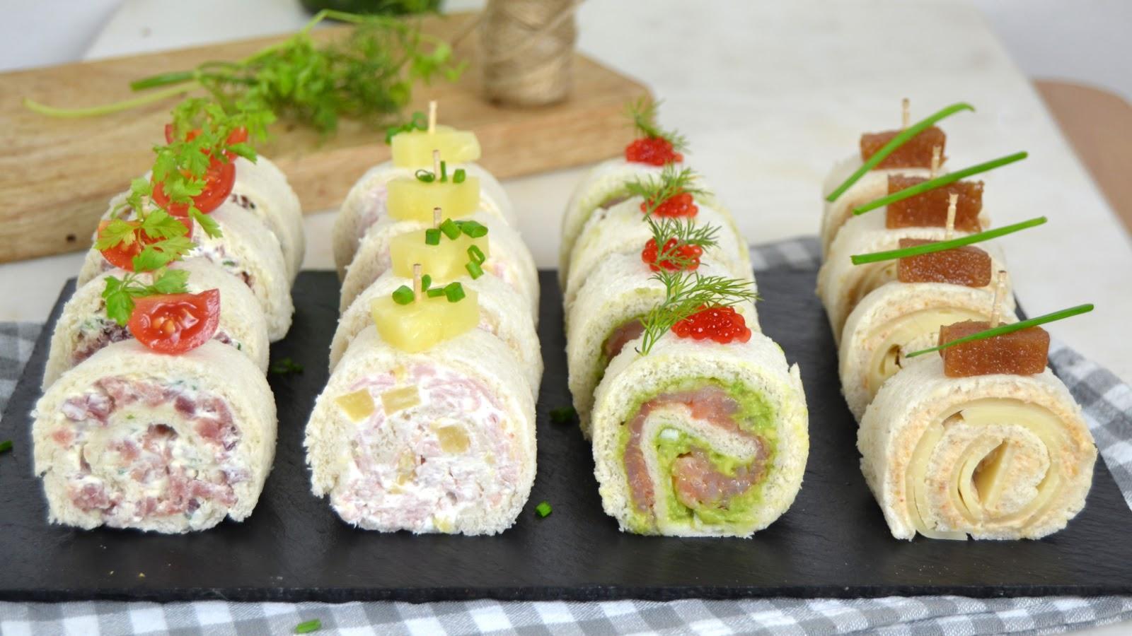 Rollitos de canapés con pan de molde para Navidad ¡4 ideas de ...