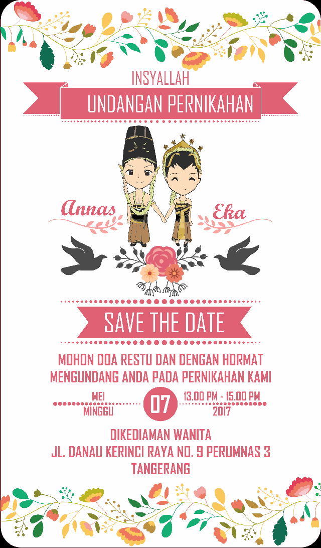 Undangan Pernikahan Wedding Invitation Kode Uno 02 Bati Offset