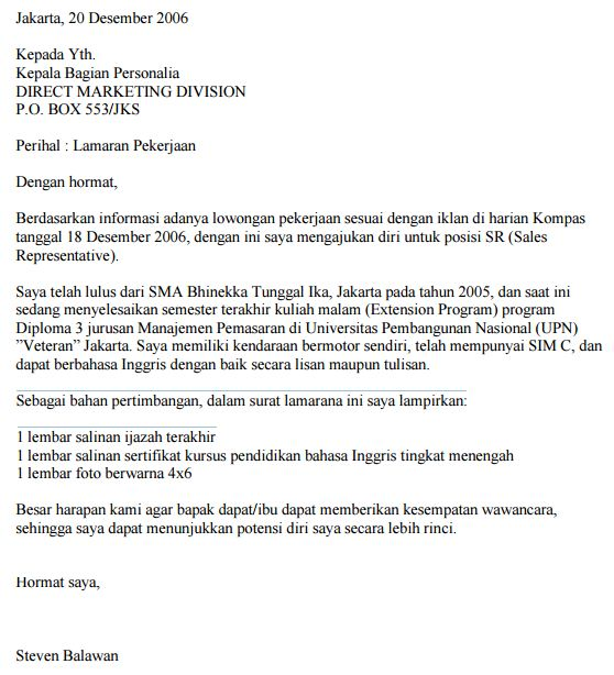Contoh Surat Lamaran Kerja Marketing FIF Marketing Leasing Kredit Motor Bandung