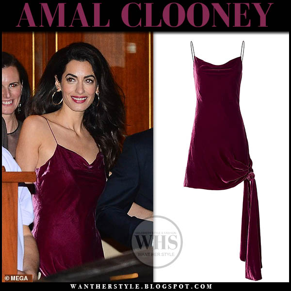 Amal Clooney wears burgundy velvet slip dress cinq a sept hollywood party outfit february 9