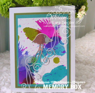 alcohol inks background with jelly fish die front card