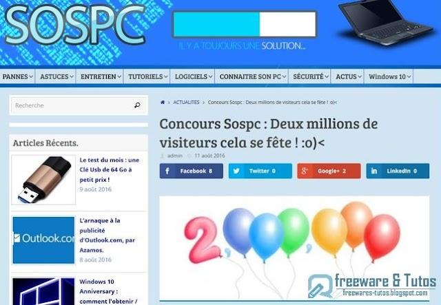 Des cadeaux à gagner chez notre partenaire SOSPC !
