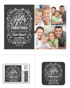 zazzle holiday cards Holly Jolly 1