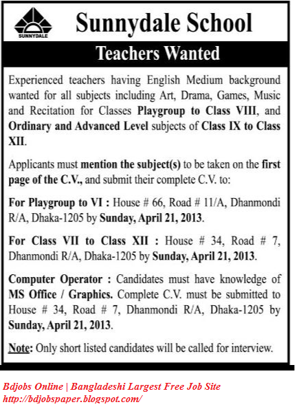Teachers Wanted for Sunnydale School