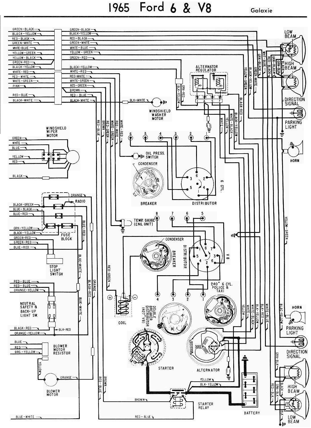 1965 ford galaxie complete electrical wiring diagram part ford tractor ignition switch wiring 1956 ford wiring [ 1088 x 1496 Pixel ]