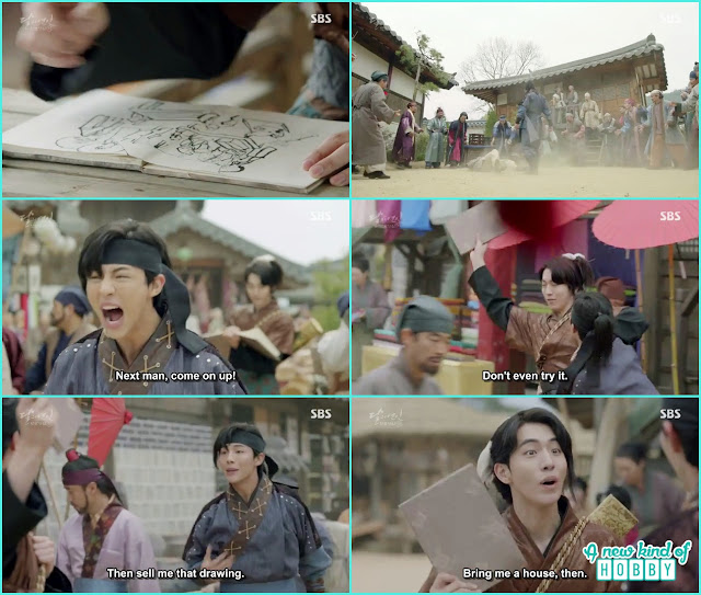 14th prince and wang woo encounter each other in the village where wang woo drawing people sketches and wang jung fighting with people - Moon Lovers: Scarlet Heart Ryeo - Episode 3 Review