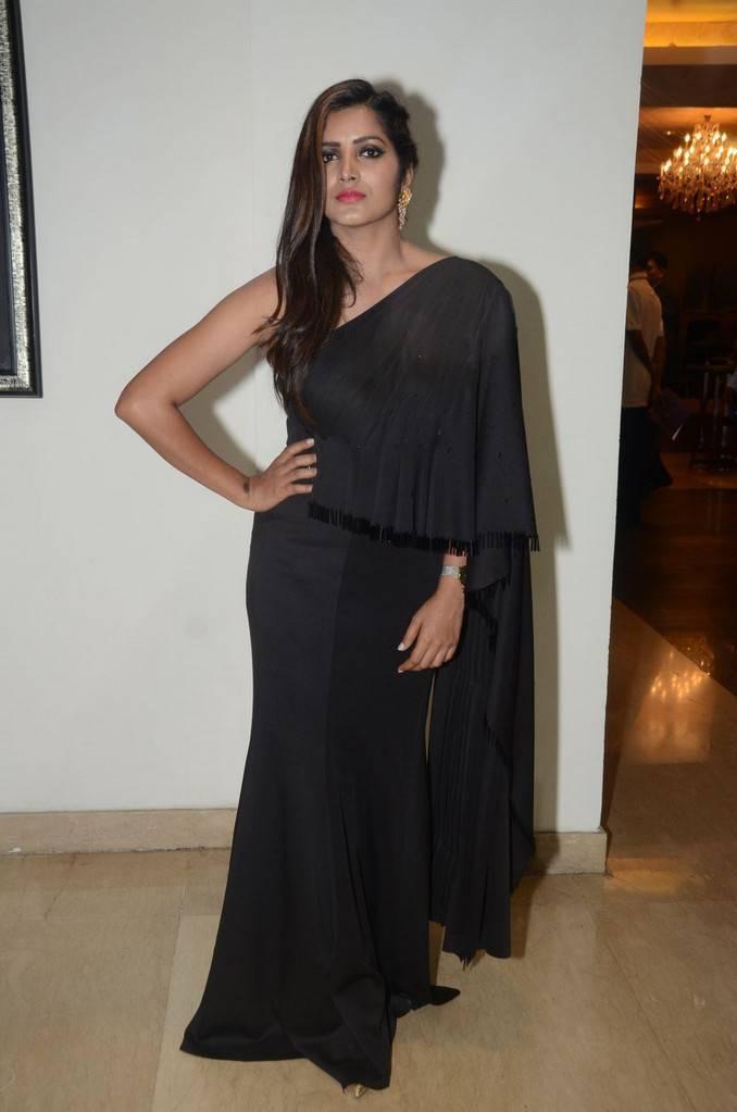 Telugu Girl Pavani Gangireddy Long Hair Stills In Long Black Dress