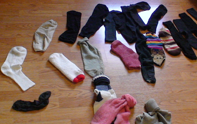 a floor full of single socks