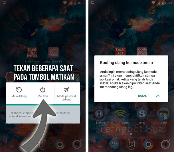 cara masuk mode aman di android