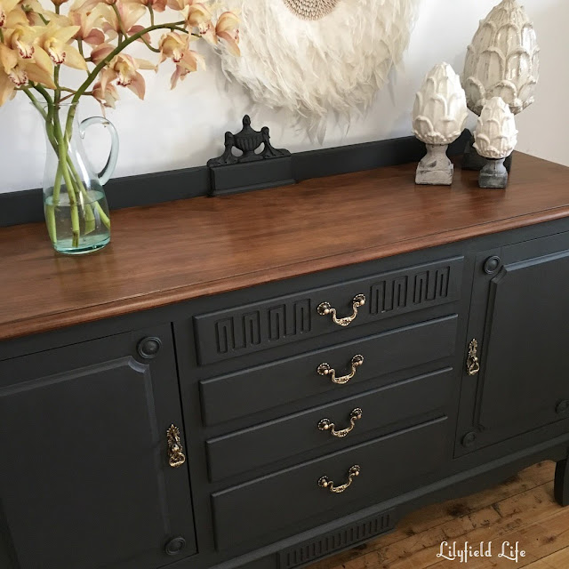 lilyfield life ASCP Graphite black and timber sideboard