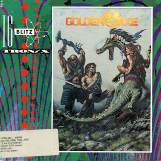 Cubierta de Golden Axe para Commodore Amiga, distribuido por Virgin Mastertronic, 1990
